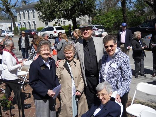 Hildegard House Dedication on Sunday, April 3, 2016. Pictured (L-R standing) Sr. Martha Jacob, Sr. Julia Davis, Fr. John Burke, Sr. Janet Marie Peterworth. (Seated) Sr. Brendan Conlon.