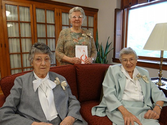 July 28 - Jubilee - 70th Jubilee (L-R) – Sisters Mildred Mae (Anselm) Rueff, Evelina Pisaneschi and Mary Brendan Conlon