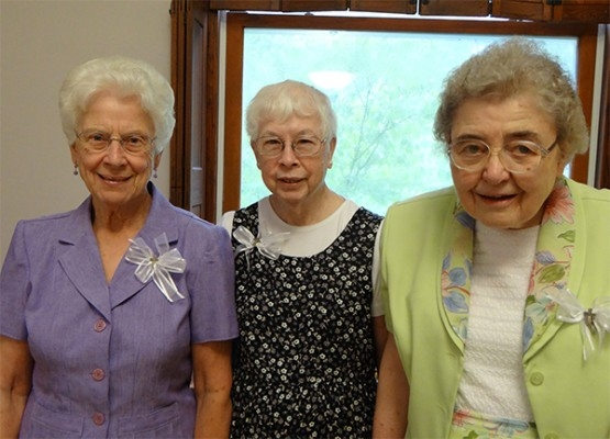 July 28 - Jubilee - 60th Jubilee (L-R) – Sisters Rosella McCormick, Mary Martha (Joseph Marie) Staarman and Rose Ann (Mary Luke) Muller