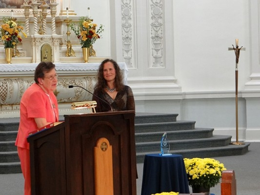 Sr. Janet Marie Peterworth, President of the Ursuline Sisters of Louisville, and 2016 Angeline Award recipient, Cory Lockhart.