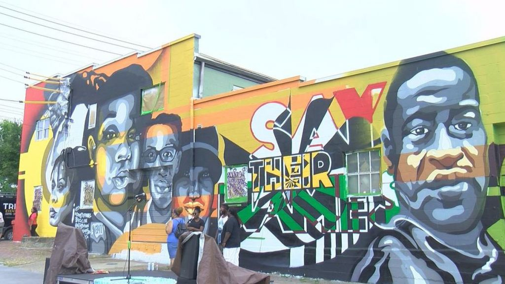Mural at 11th and Main Streets, Louisville, Kentucky of Breonna Taylor, David McAtee, Elijah McClain and George Floyd, photo by WAVE 3 News